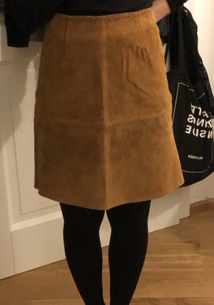 Zara Leather Skirt cognac-coloured-brown
