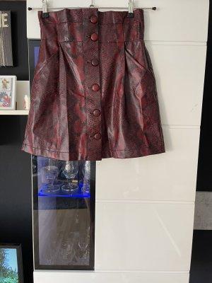 Zara Jupe en cuir noir-bordeau