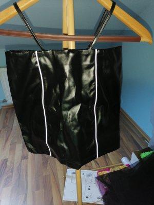 SheIn Faux Leather Skirt white-black