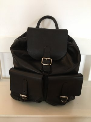 Charlotte School Backpack black-silver-colored leather
