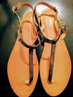 Les Tropéziennes High-Heeled Toe-Post Sandals black-silver-colored