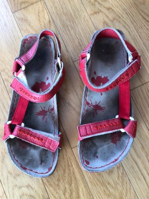 Sandalo comodo rosso neon-rosso scuro Pelle