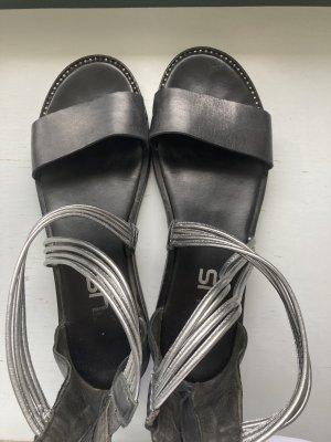 Mjus Sandalias de tiras negro-color plata Cuero