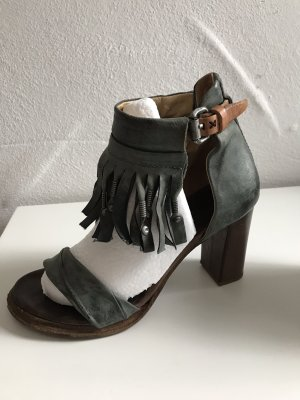 A.S.98 Strapped High-Heeled Sandals brown-pale blue
