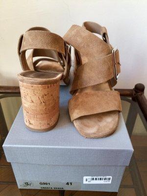 Progetto Sandalias de tacón de tiras marrón arena