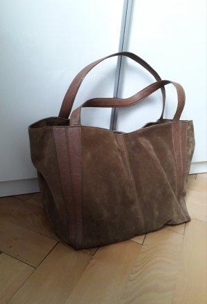 Shopper marron clair-brun cuir