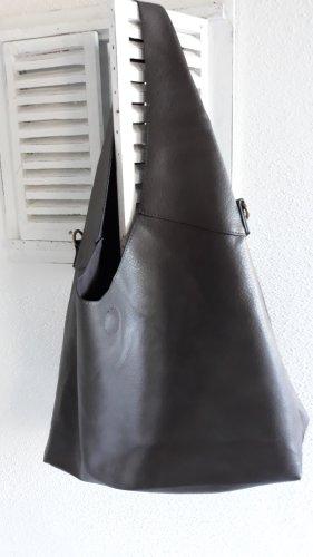 Borsa shopper marrone-grigio