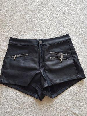 H&M Pantalón de cuero negro-color plata