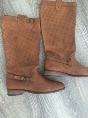 Massimo Dutti Jackboots brown-cognac-coloured