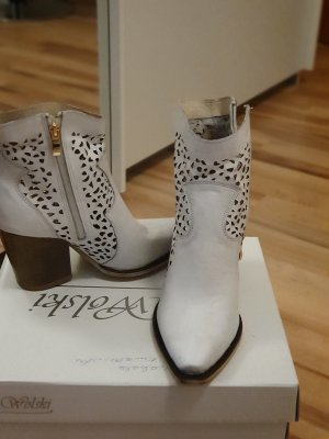 Buty w stylu western biały-brąz