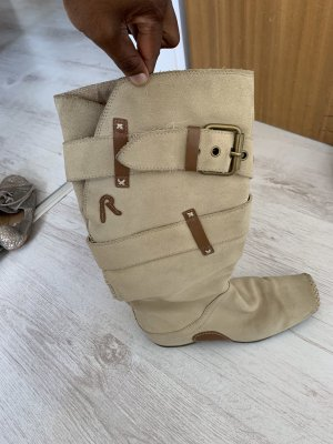 Replay Bottes à tige large beige clair