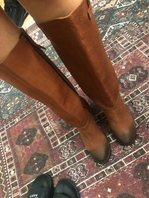 Buffalo Heel Boots brown-cognac-coloured
