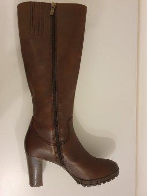Caprice Heel Boots dark brown leather