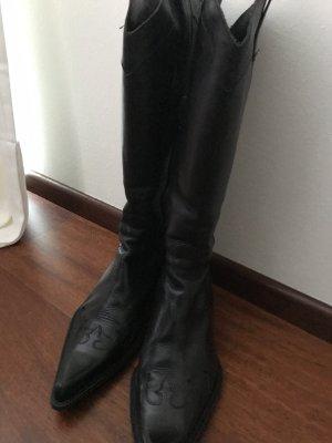 Halfhoge laarzen zwart Leer