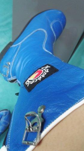 Botas moteras azul Cuero