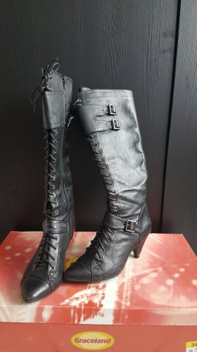 Graceland Gothic laarzen zwart