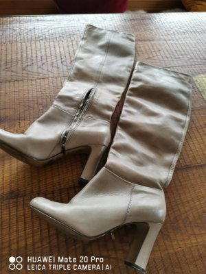 Cate Gray Heel Boots grey brown leather