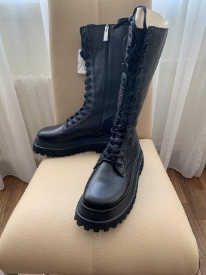 Zara Basic Aanrijg laarzen zwart Leer
