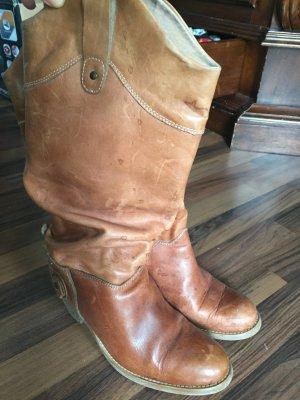 Lederstiefel Slouch Boots Cognac