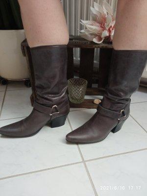 Prada Western Booties dark brown