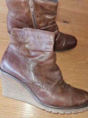 Gabor Wedge Booties brown leather