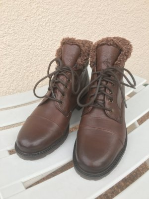 Clarks Lace-up Booties brown leather