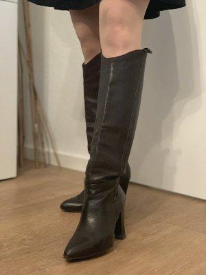 Unisa Wide Calf Boots dark brown leather