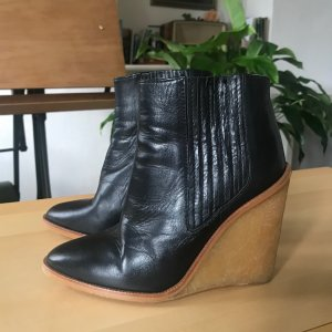 Zara Wedge Booties black leather