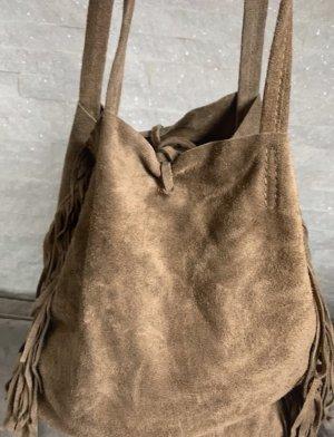 Vera Pelle Bolso de flecos marrón claro