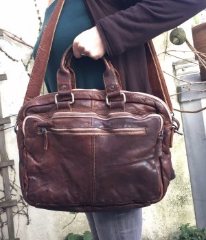 Rebels College Bag cognac-coloured-dark brown leather