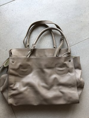 Ledertasche Genuine Leather chic und leger in taupe