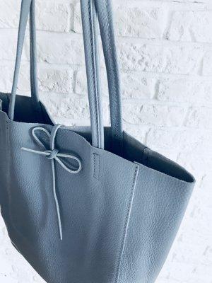 Ledertasche Handtasche Shopper Ledershopper weich himmelblau  neu
