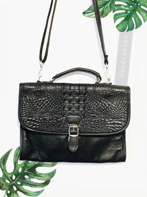Ledertasche Kroko Krokodil Optik Handtasche schwarz Silber elegant Umhänge | Vintage | onesize
