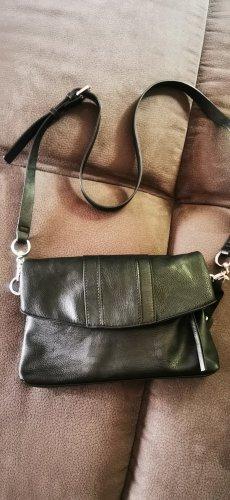 Ledertasche Leder Handtasche Esprit schwarz  Mit Reißverschluss