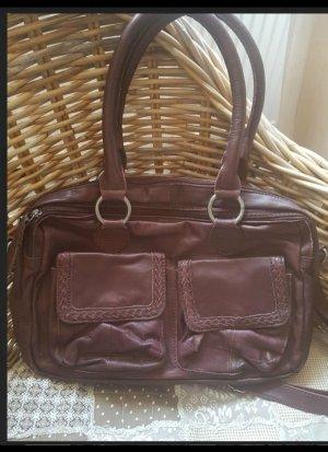 Ledertasche - Vintage Tasche - 5th Avenue Tasche Bordeaux - Umhängetasche - Schultertasche - Handtasche