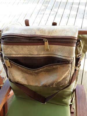 Fossil Pouch Bag sand brown leather
