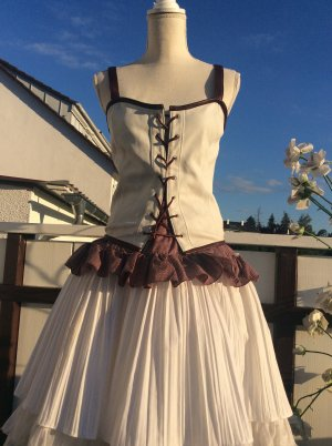 Corsage topje wit-roodbruin