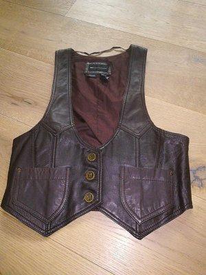 Mango Casual Sportswear Chaleco de cuero marrón oscuro Cuero