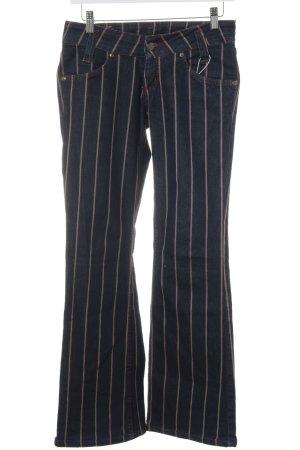 Lee Boot Cut Jeans dunkelblau-beige Streifenmuster Street-Fashion-Look