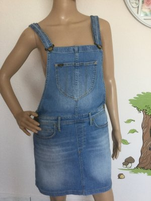Lee Pinafore Overall Skirt azure cotton