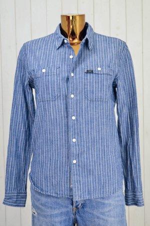 LEE Damen Hemd Jeanshemd Blau Weiß Streifen Baumwolle Brusttasche Gr.S