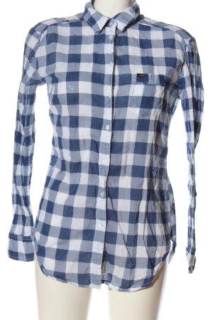 Lee Langarmhemd blau-weiß Allover-Druck Casual-Look