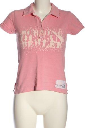 Lee Camiseta tipo polo rosa-crema letras impresas look casual