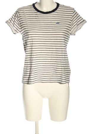 Lee Koszulka w paski kremowy-czarny Wzór w paski W stylu casual