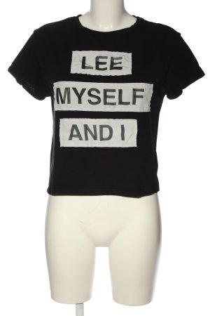 Lee Strickshirt schwarz-weiß Schriftzug gedruckt Casual-Look