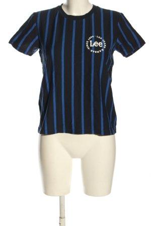 Lee T-Shirt schwarz-blau Streifenmuster Casual-Look