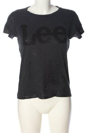 Lee T-shirt gris clair-noir lettrage imprimé style décontracté