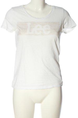 Lee T-shirt biały-kremowy Wydrukowane logo W stylu casual
