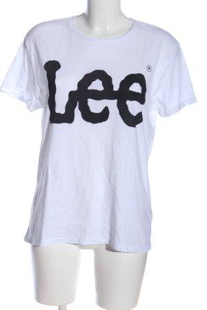 Lee T-Shirt weiß-schwarz Schriftzug gedruckt Casual-Look