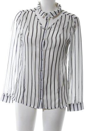 Lefon Transparenz-Bluse weiß-schwarz Streifenmuster Business-Look